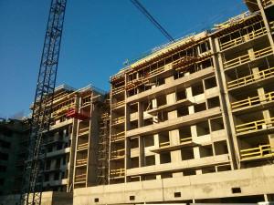 Zaawansowanie prac przy budowie bloku Orlińskiego 1 w Czyżynach w Krakowie