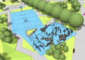 Projekt boiska i infrastruktury sportowej w nowym parku w Czyżynach